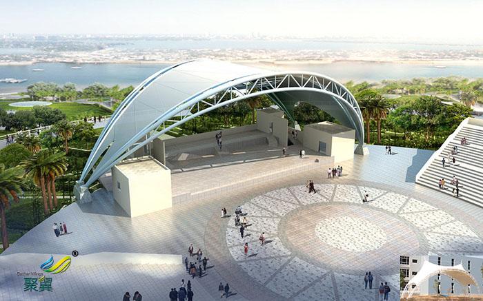 广东社区表演屋顶舞台膜结构厂家设计方案图材质