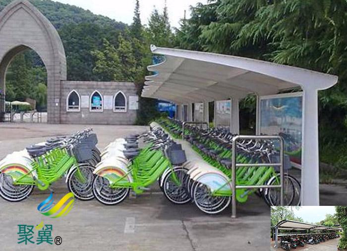 四川户外膜结构非机动停车车棚定做施工图生产厂家