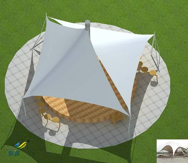 山东景观张拉膜结构定制汽车充电桩停车棚景观安装效果图