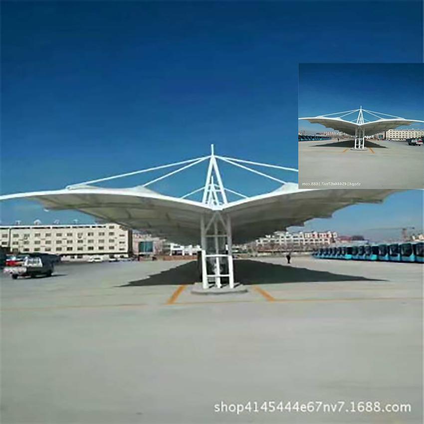 上海双开式膜结构车棚自行车棚安装案列流程