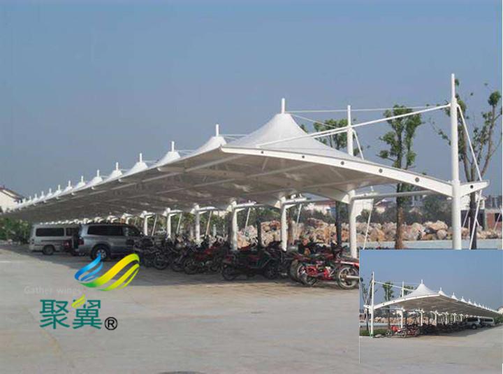 JY001膜结构汽车停车棚膜结构遮阳雨棚