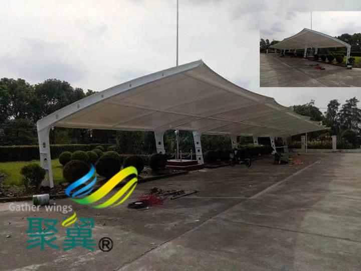 安装膜结构车棚停车棚景观遮阳雨棚好处及优势