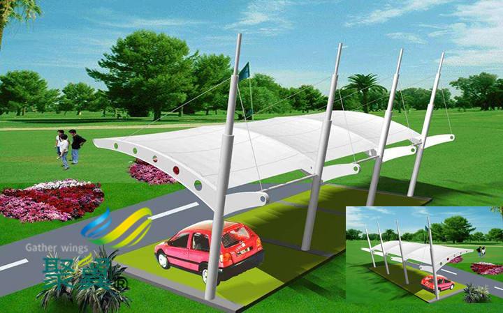 膜结构车棚汽车棚顶棚面料都用哪些 汽车顶棚面料优点