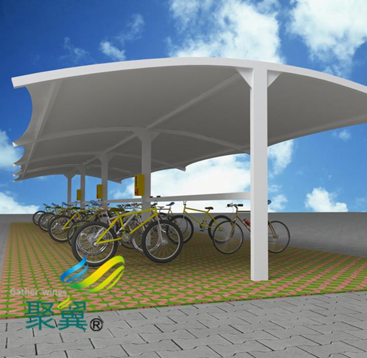 张拉膜结构车棚景观安装|符合车棚建筑标准